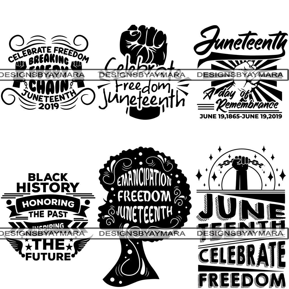 Bundle 6 Juneteenth Svg Quotes Cut Files For Silhouette And Cricut Designsbyaymara