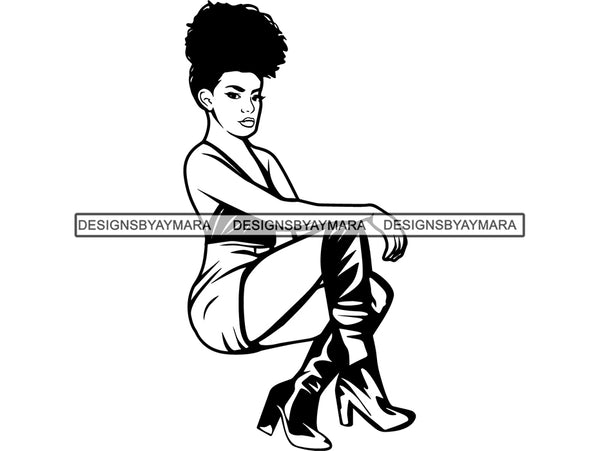 Afro Woman SVG Nubian Glamour Fabulous Make Up Fashion Model Queen Diva Lady Princess  .SVG .EPS .PNG Vector Clipart Cricut Circuit Cut Cutting