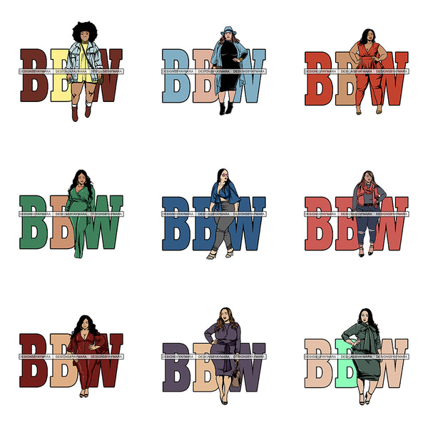 Bundle Of Thick Goddess BBW Big and Bougie Woman Life Quotes Nubian Melanin Afro Hairstyle Female Classy Lady .PNG .EPS .JPG Vector Clipart