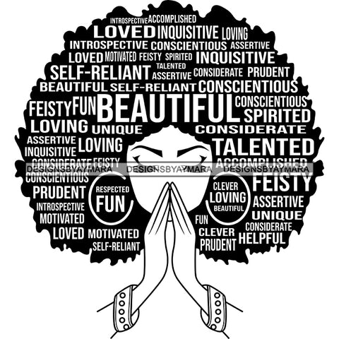 Afro Woman Praying Hair Quotes Educated Smart Queen SVG Cutting Vector Files Cricut Silhouette Best Price!