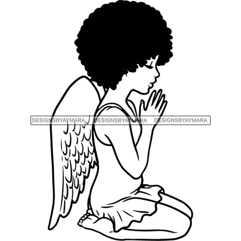 Precious Black Angel Girl Hands Praying Wings Blessed Afro Hairstyle B/W SVG JPG PNG Vector Clipart Cricut Silhouette Cut Cutting