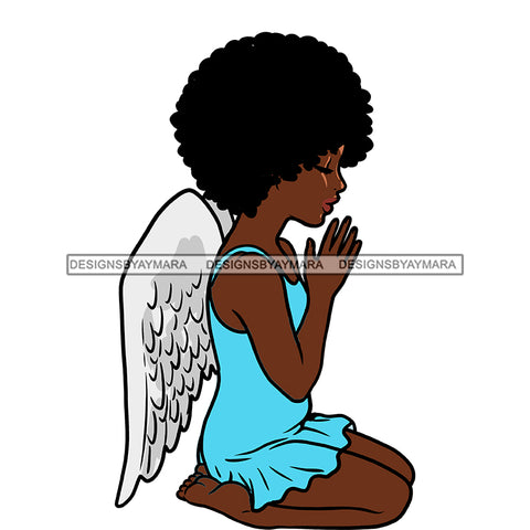 Angel Praying With Afro Blue Dress Wings Color  JPG PNG  Clipart Cricut Silhouette Cut Cutting
