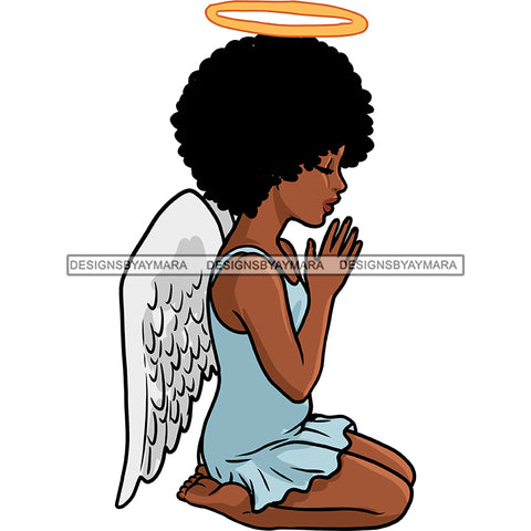 Angel With Halo Praying With Afro Blue Dress Wings Color  JPG PNG  Clipart Cricut Silhouette Cut Cutting