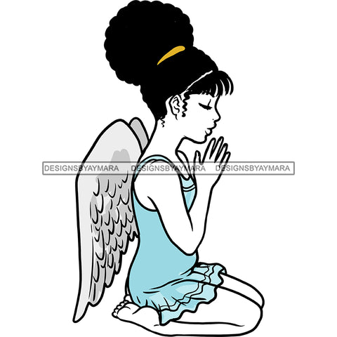 Angel  Praying With Afro Blue Dress Wings   JPG PNG  Clipart Cricut Silhouette Cut Cutting