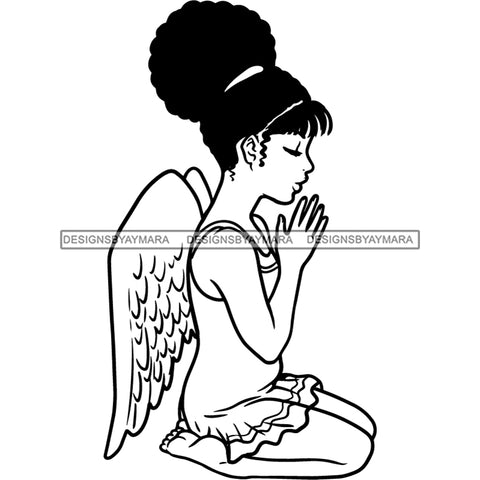 Precious Black Angel Girl Hands Praying Wings Blessed Up Do Hairstyle B/W SVG JPG PNG Vector Clipart Cricut Silhouette Cut Cutting