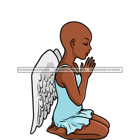 Bald Angel  Praying Blue Dress Wings   JPG PNG  Clipart Cricut Silhouette Cut Cutting