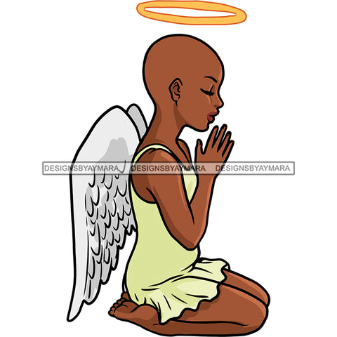 Bald Angel With Halo  Praying  Yellow Dress Wings   JPG PNG  Clipart Cricut Silhouette Cut Cutting