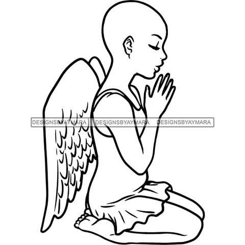 Precious Black Angel Girl Hands Praying Wings Blessed Bald Style B/W SVG JPG PNG Vector Clipart Cricut Silhouette Cut Cutting