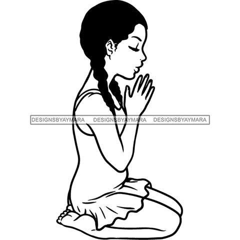 Precious Black Girl Hands Praying Blessed Braids Hairstyle B/W SVG JPG PNG Vector Clipart Cricut Silhouette Cut Cutting