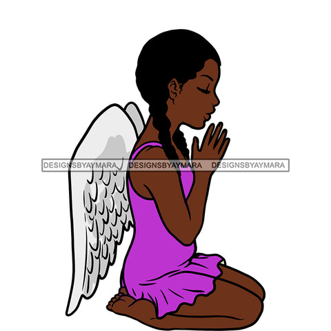 Angel  Praying  Purple Dress Wings   JPG PNG  Clipart Cricut Silhouette Cut Cutting
