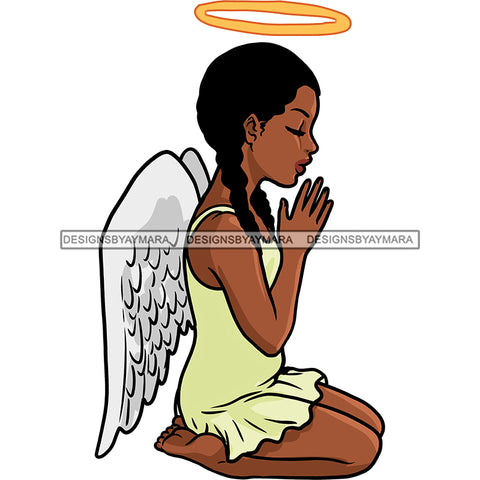 Angel With Halo Praying Yellow Dress With Wings   JPG PNG  Clipart Cricut Silhouette Cut Cutting