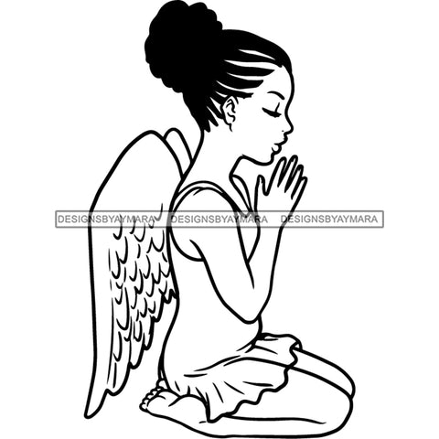 Precious Black Angel Girl Hands Praying Wings Blessed Cornrows Bun Hairstyle B/W SVG JPG PNG Vector Clipart Cricut Silhouette Cut Cutting