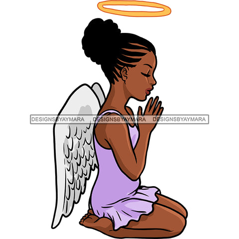 Angel With Halo Praying Lilac Dress With Wings   JPG PNG  Clipart Cricut Silhouette Cut Cutting
