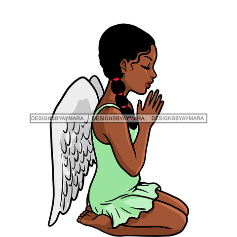 Angel  Praying Green Dress With Wings   JPG PNG  Clipart Cricut Silhouette Cut Cutting