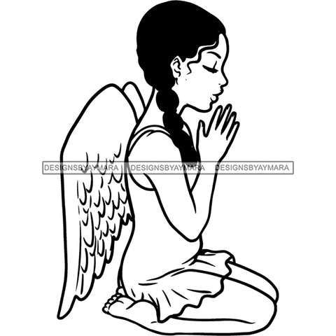 Precious Black Angel Girl Hands Praying Wings Blessed Braids Hairstyle B/W SVG JPG PNG Vector Clipart Cricut Silhouette Cut Cutting