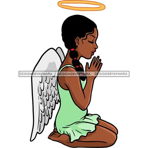 Angel With Halo  Praying Green Dress With Wings   JPG PNG  Clipart Cricut Silhouette Cut Cutting
