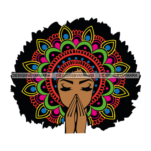 Afro Colorful Mandala Black Woman Praying Portrait Goddess SVG Cutting Files For Silhouette Cricut