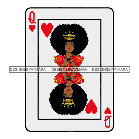 Afro Woman Hot Selling Designs Casino Card Queen Heart .SVG Cutting Files For Silhouette Cricut and More!