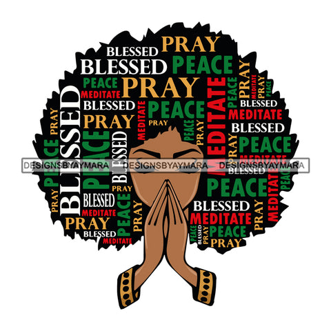 Afro Woman Praying God Hair Pray Peace Quotes Hot Selling .SVG Cutting Files For Silhouette Cricut and More!