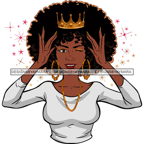 Afro Goddess Black Woman Crown In Afro Hair White Top Hands Holding Crown SVG Cutting Vector Files Artwork for Cricut Silhouette And More