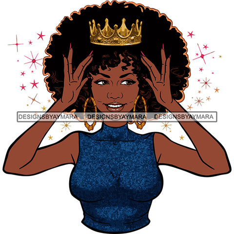 Afro Goddess Black Woman Crown In Afro Hair Blue Top Hands Holding Crown SVG Cutting Vector Files Artwork for Cricut Silhouette And More