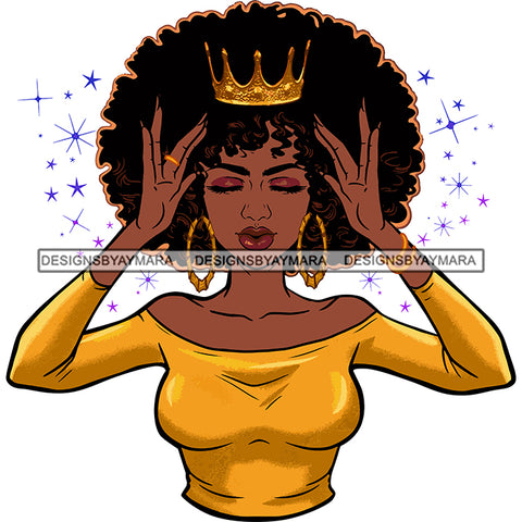 Afro Goddess Black Woman Crown In Afro Hair Gold Top Hands Holding Gold Crown SVG Cutting Vector Files Artwork for Cricut Silhouette And More