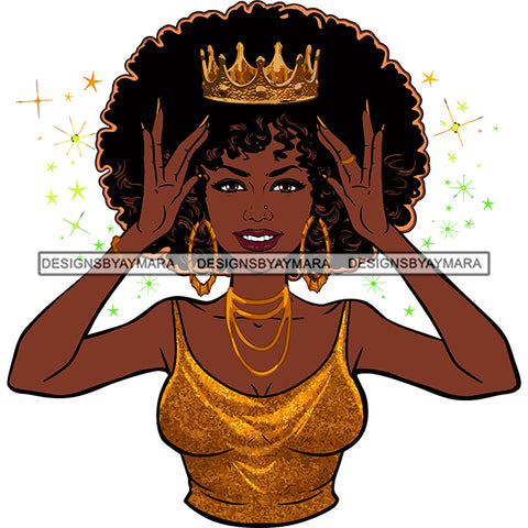 Afro  Goddess Black Woman Crown In Afro Hair Gold Thin Strap Top Hands Holding Gold Crown Gold Necklace And Earrings SVG Cutting Vector Files Artwork for Cricut Silhouette And More