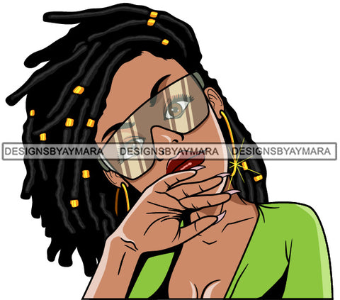 Afro Lola Woman Fashion Sunglasses Locs Black Hair Lime Green Top  SVG Cutting Vector Files Artwork for Cricut Silhouette And More
