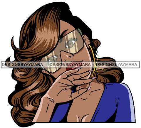 Afro Lola Woman Fashion Sunglasses Shades Long Light Brown Hair Blue Top  SVG Cutting Vector Files Artwork for Cricut Silhouette And More