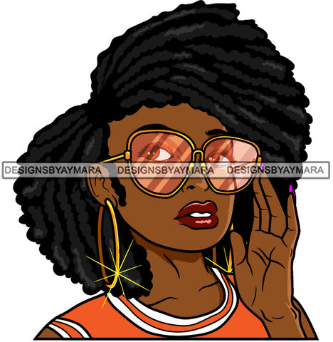 Afro Lola Black Woman Wearing Fashion Glasses Hipster Black Girl Magic SVG Cutting Files For Silhouette Cricut More