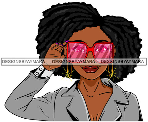 Afro Lola Woman Fashion Pink Sunglasses Shades Big Afro Hair Gray Top  SVG Cutting Vector Files Artwork for Cricut Silhouette And More