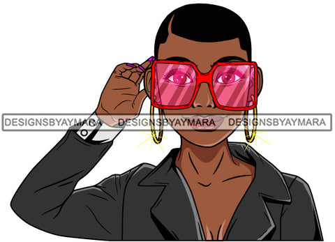 Afro Lola Woman Fashion Pink Sunglasses Shades Short Hair Gray Jacket  SVG Cutting Vector Files Artwork for Cricut Silhouette And More