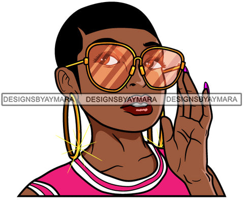 Afro Lola Black Woman Wearing Fashion Glasses Short Haircut Hipster Black Girl Magic SVG Cutting Files For Silhouette Cricut More