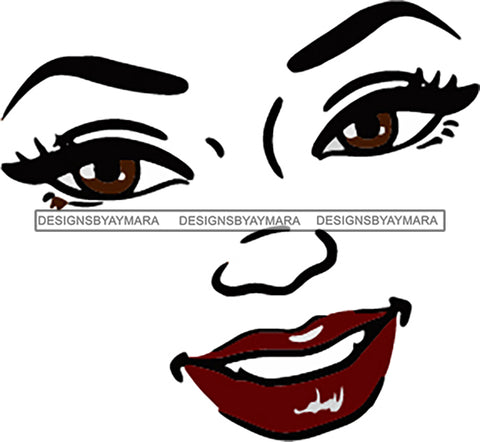 Face Outline Smiling Red Lips  SVG JPG PNG Vector Clipart Cricut Silhouette Cut Cutting