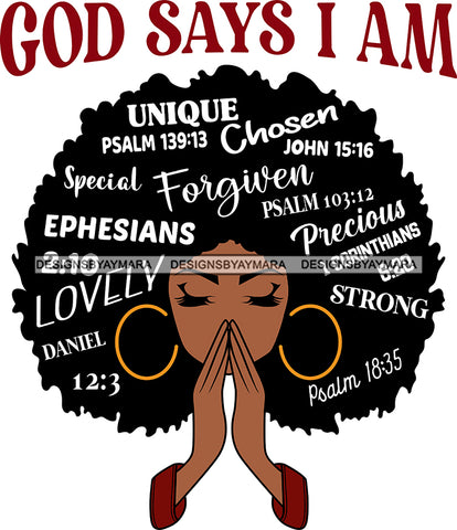 Afro Woman Praying God Says I'm SVG Files For Cutting and More!