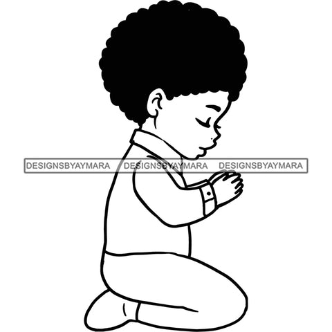 Praying Child Big Afro SVG JPG PNG Vector Clipart Cricut Silhouette Cut Cutting