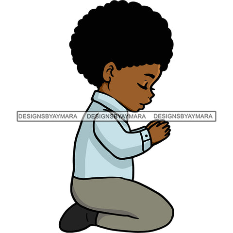 Praying Child Big Afro In Color SVG JPG PNG Vector Clipart Cricut Silhouette Cut Cutting