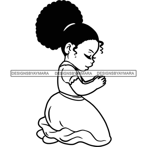 Girl Child Praying In Black And White SVG JPG PNG Vector Clipart Cricut Silhouette Cut Cutting
