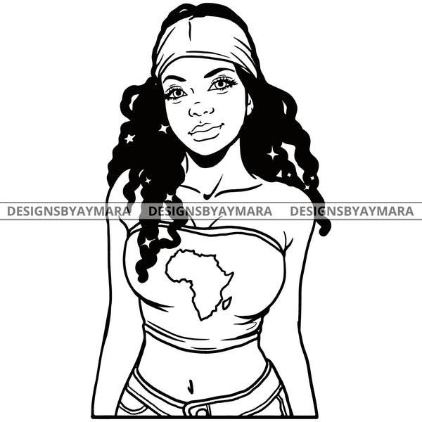 Wise Attitude Goddess Diva BW With No Words Africa SVG JPG PNG Vector Clipart Cricut Silhouette Cut Cutting