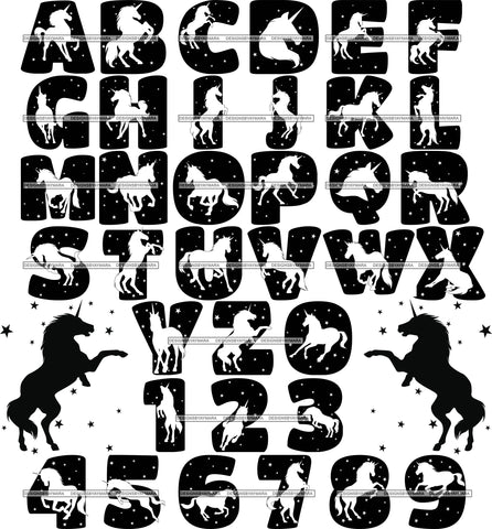 Bundle 36 Unicorn Alphabet Numbers Letters Words Creation Kit Fantasy Horse Fairy SVG JPG PNG Layered Cutting Files For Silhouette Cricut and More