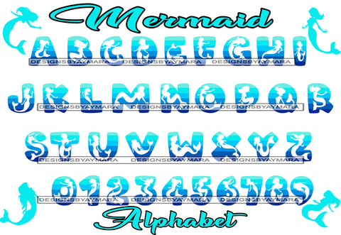Bundle 36 Mermaid Fairy Fantasy Alphabet Words Letters Numbers Creation Kit SVG JPG PNG Layered Cutting Files For Silhouette Cricut and More