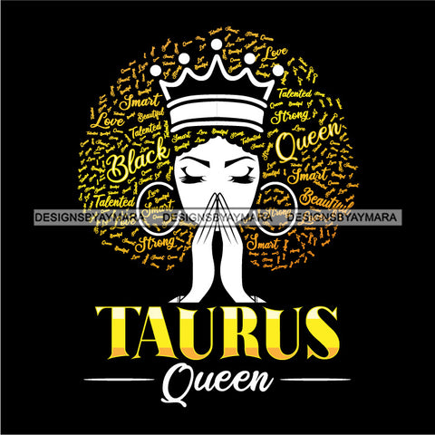 Taurus Queen Calendar Afro Woman Melanin Popping Nubian Black Girl Magic SVG Cutting Files For Silhouette Cricut and More