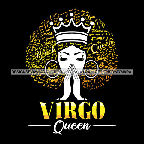 Virgo Queen Calendar Afro Woman Melanin Popping Nubian Black Girl Magic SVG Cutting Files For Silhouette Cricut and More