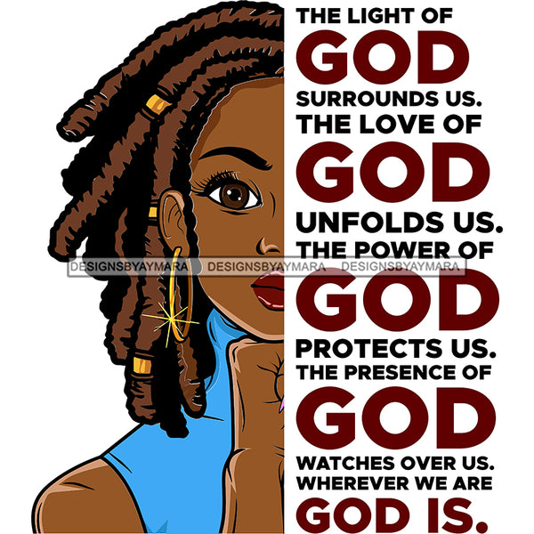 The Light Of God Surrounds Us Black Woman Locs Sister Locs  SVG JPG PNG Vector Clipart Cricut Silhouette Cut Cutting1