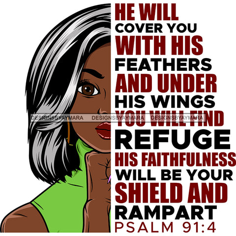 He Will Cover You With His Feathers Black Woman Mixed Gray Hair  SVG JPG PNG Vector Clipart Cricut Silhouette Cut Cutting1