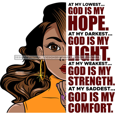 At My Lowest God Is My Hope Black Woman  SVG JPG PNG Vector Clipart Cricut Silhouette Cut Cutting1