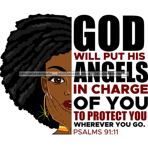 God Will Put His Angels In Charge Black Woman Locs Sister Locs  SVG JPG PNG Vector Clipart Cricut Silhouette Cut Cutting1