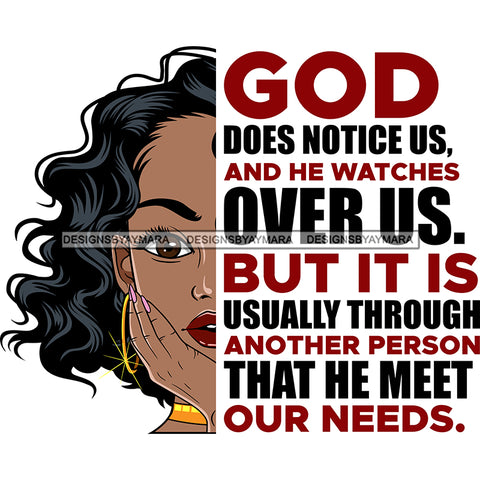God Does Notice Us And He Watches Over Us Black Woman SVG JPG PNG Vector Clipart Cricut Silhouette Cut Cutting1