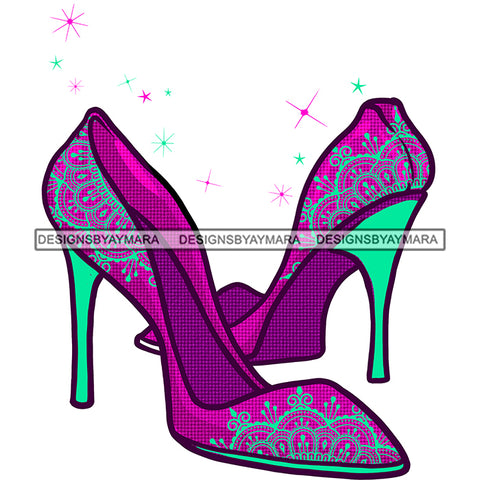 Stepping Pink Purple Green High Heels Shoes JPG PNG  Clipart Cricut Silhouette Cut Cutting