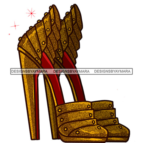 Stepping Gold High Heels Shoes JPG PNG  Clipart Cricut Silhouette Cut Cutting
